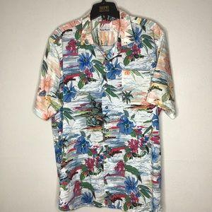 Tommy Bahama Hawaiian Print Shirt Tencel XLT